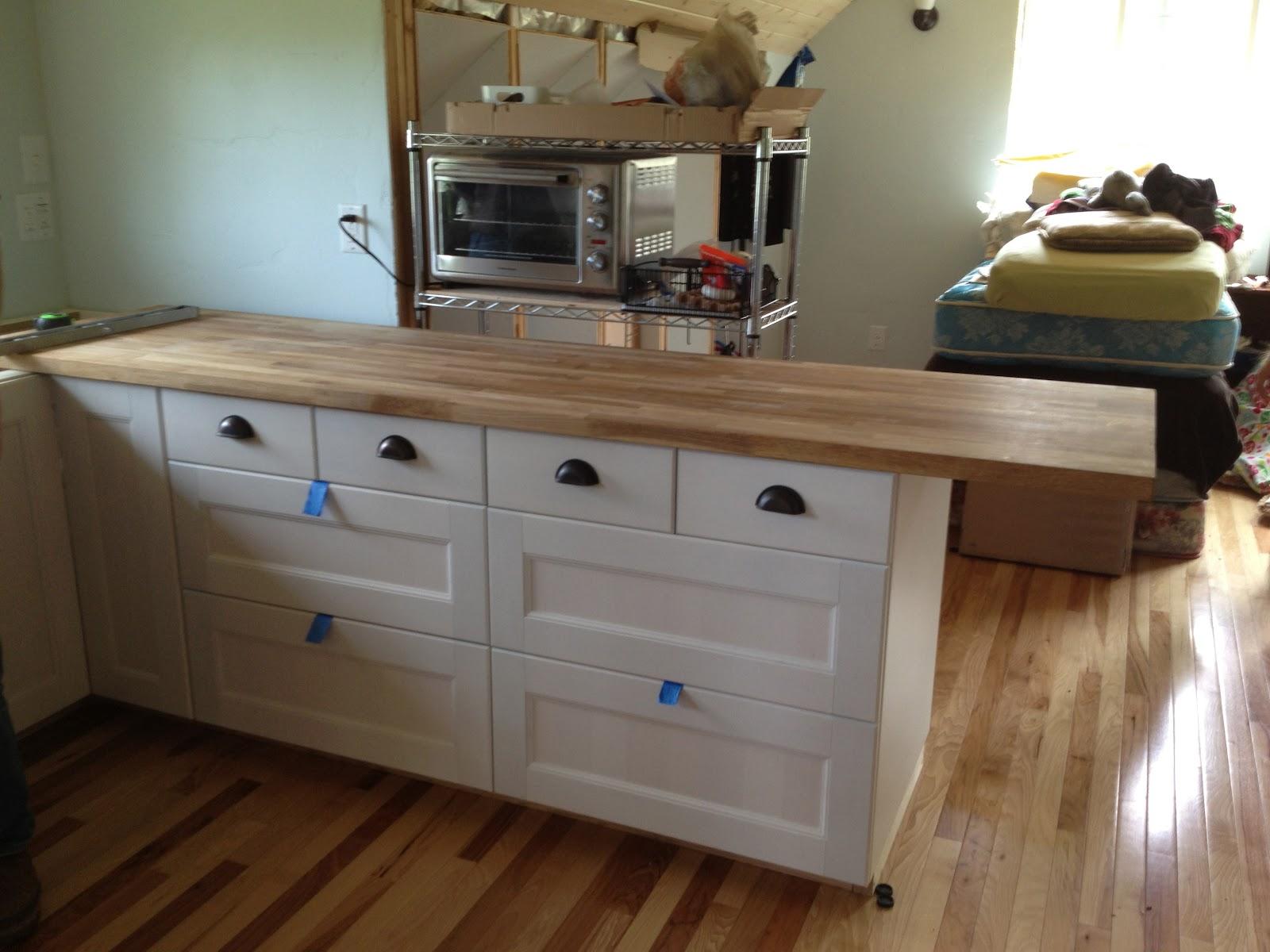 oak butcher block countertop, waiting to be cut to length, as you can ...