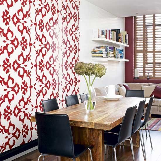 New home interior design traditional dining room for Wallpaper sala de estar