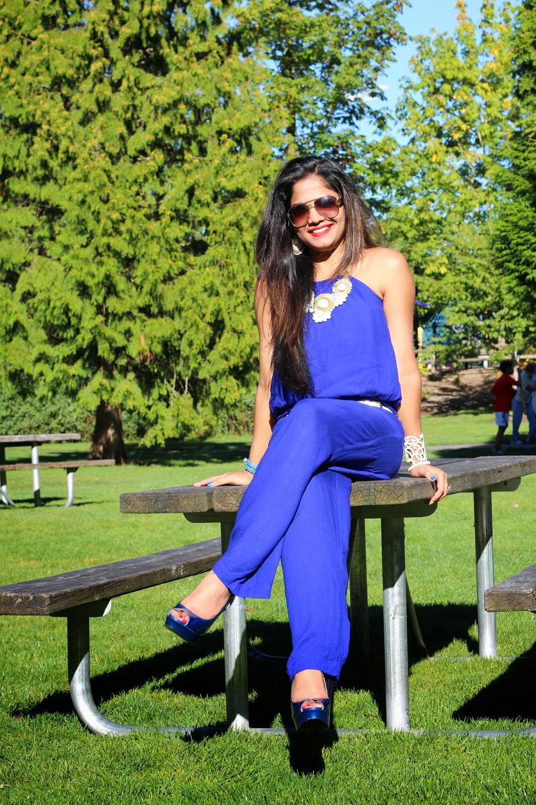 Blue rompers on Indian girl, sexy rompers, indian fashion blogger in a romper, Seattle fashion bloggers, Ananya's style , brown girls colorful clothes