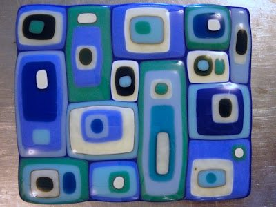 Stacked Square Plate Color Reaction Blue Turquoise French Vanilla After