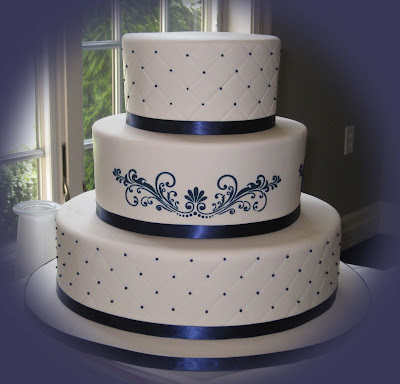 blue and white fondant wedding cake