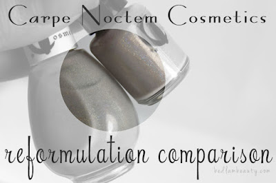 Carpe Noctem Cosmetics Taupey Tips Reformulation Comparison by Bedlam Beauty