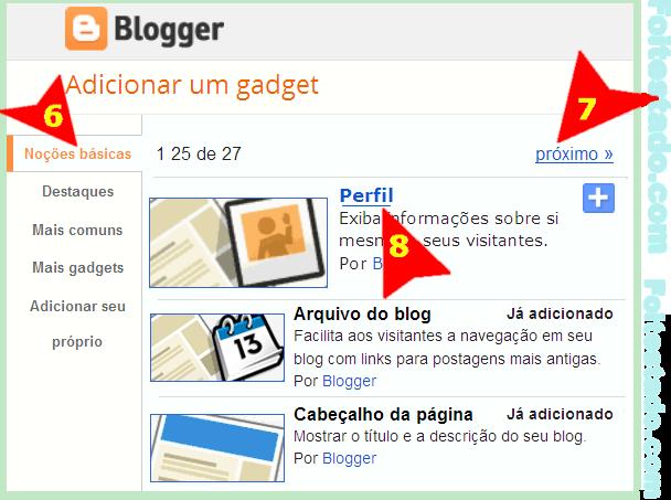 Escolher widget de perfil padrão do blogger para meu blogspot na nova interface atualizada do blogger
