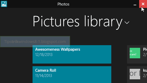 titlebar aplikasi metro di windows 8.1 untuk menutup dan mengeluarkan aplikasi metro