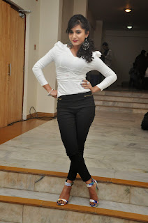 Smithika Acharya Tight White Shirt Black Leggings at Oo Cheliya Naa Priya Shakiya audio launch