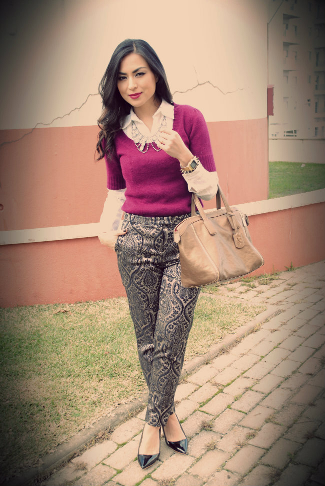 street style - brocade pants - brocado - trend alert - fashion blogger style - topshop pants - colar necklace