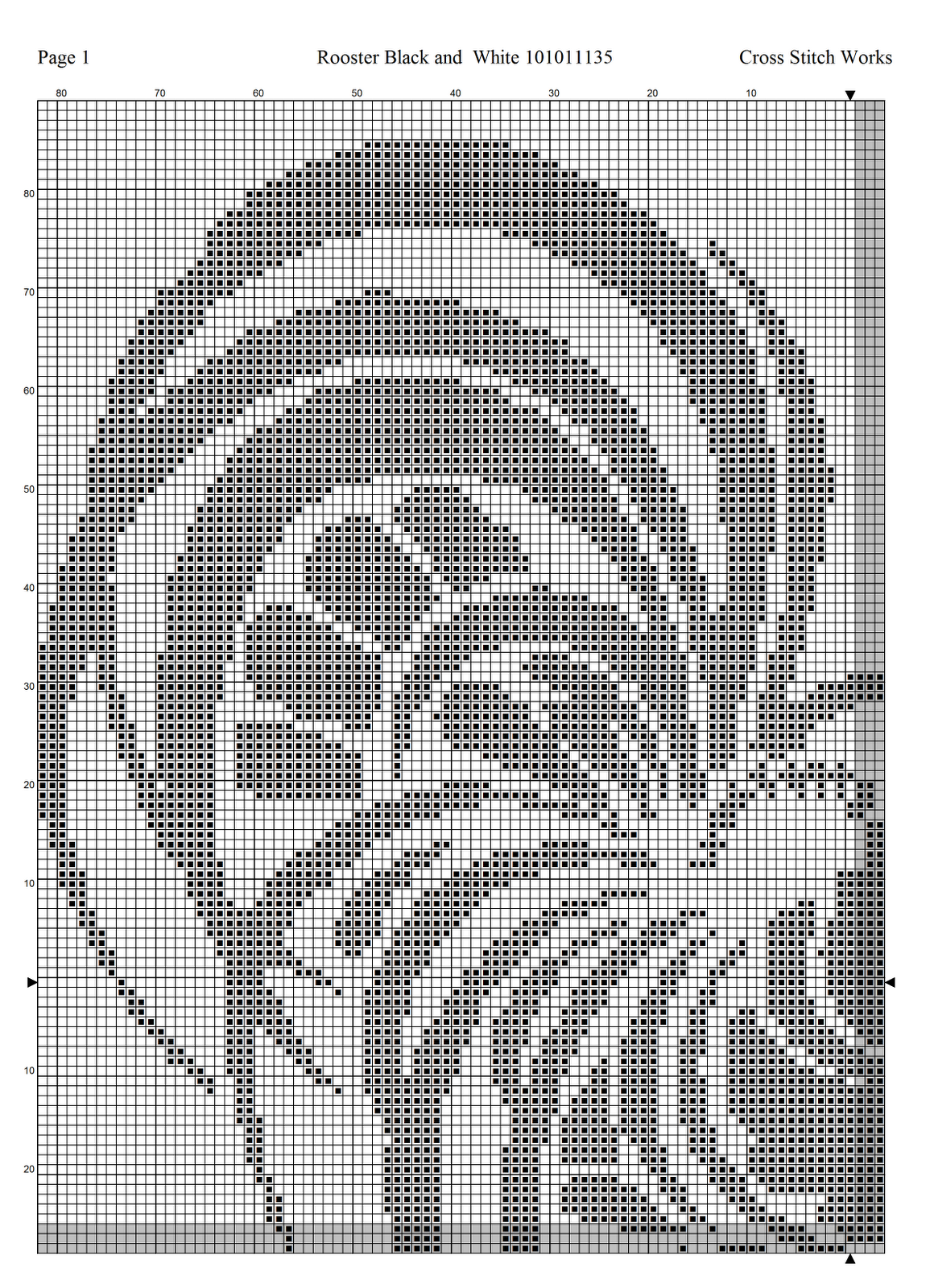 Cross Stitch Works Rooster Black And White 101011135 Free