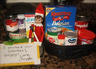 Elf on a shelf makes lunch.