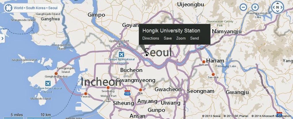 Hongdae South Korea Map