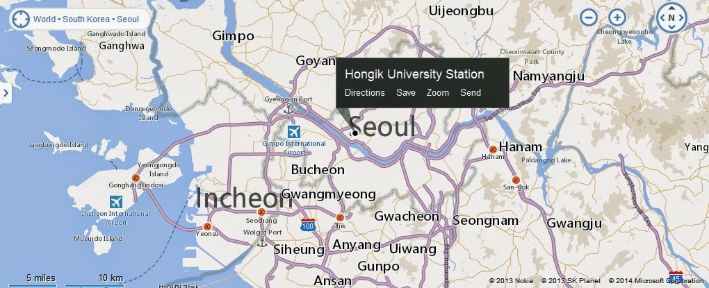 Hongdae area Hongik University Street Seoul Location Map – Seoul Tourist Attractions Map