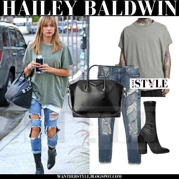 Hailey Baldwin in army green top, ripped jeans and black boots givenchy prive what she wore models off duty