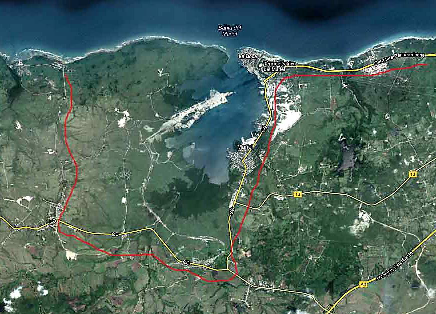 Mapa del recorrido de Cicloturistas de Canada hasta a la Casa Alicia