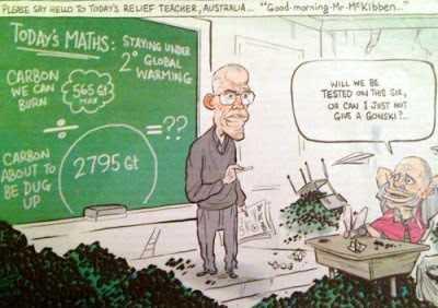 Cartoon of Bill McKibben explaining the maths of carbon emissions