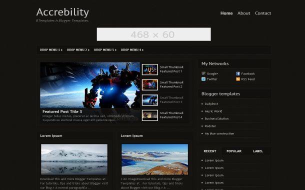 Dark Black Games Free Blogger Theme Template