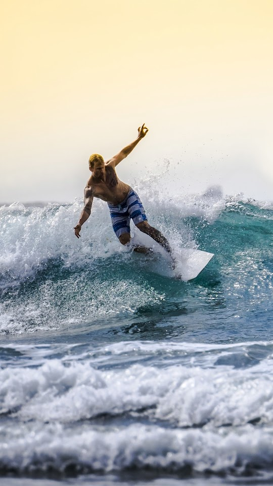 Surfer Surfboard Sea Waves Horizon Galaxy Note HD Wallpaper