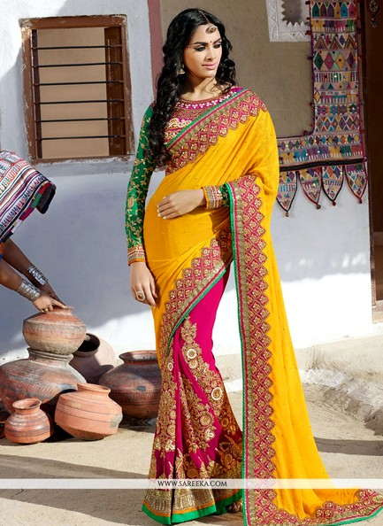Half And Half Saree With Work In Yellow And Megenta Color