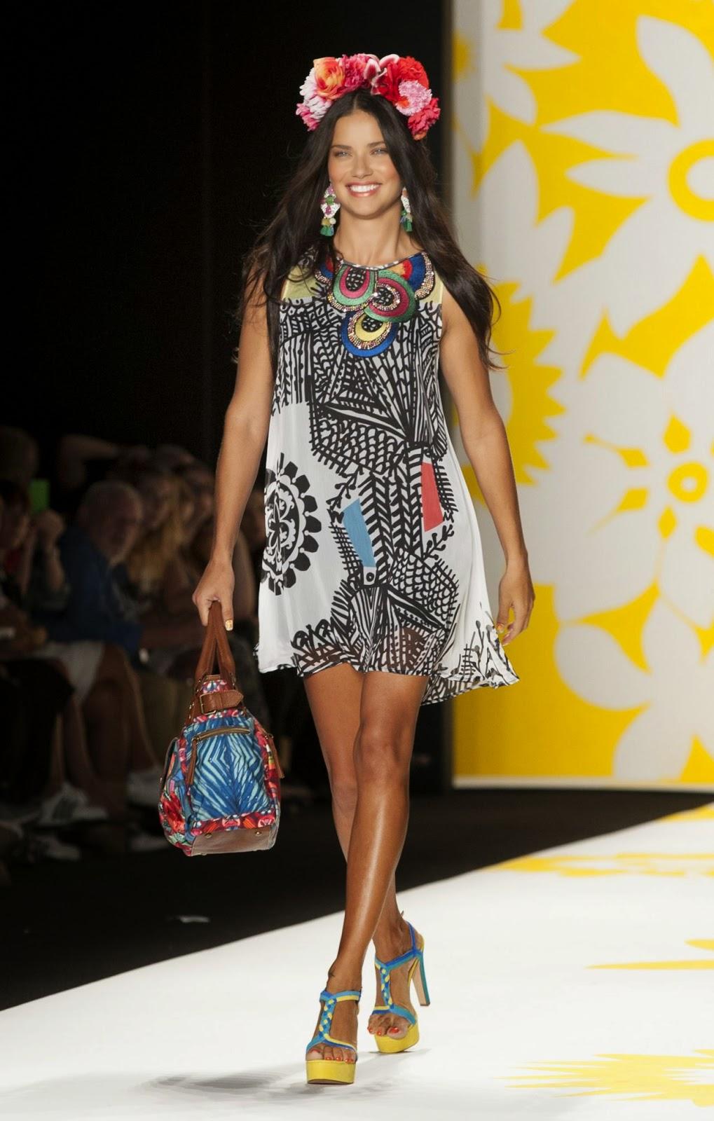 Adriana Lima walks the Desigual Spring 2015 runway at the New York Fashion Week