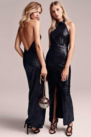 vestido largo con lentejuelas en color negro H&M