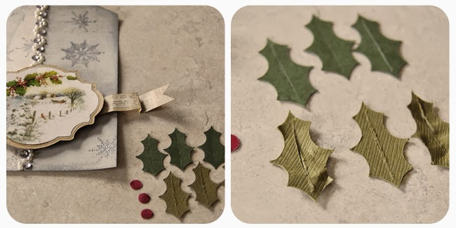 Cut out some holly leaves and berries Fold and shape leaves to give them a more realistic appearance