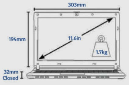 Asus Transformer Book Trio TX201LA Dimensions