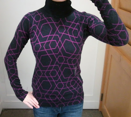 J.Crew Merino Turtleneck Sweater in Abstract Diamond