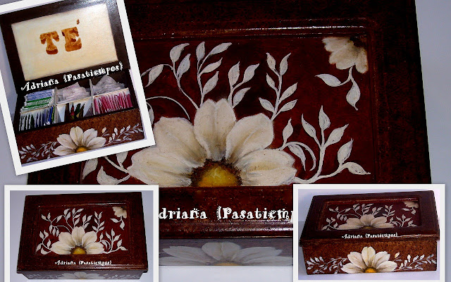 Pintura decorativa sobre madera Caja de té falsos acabados