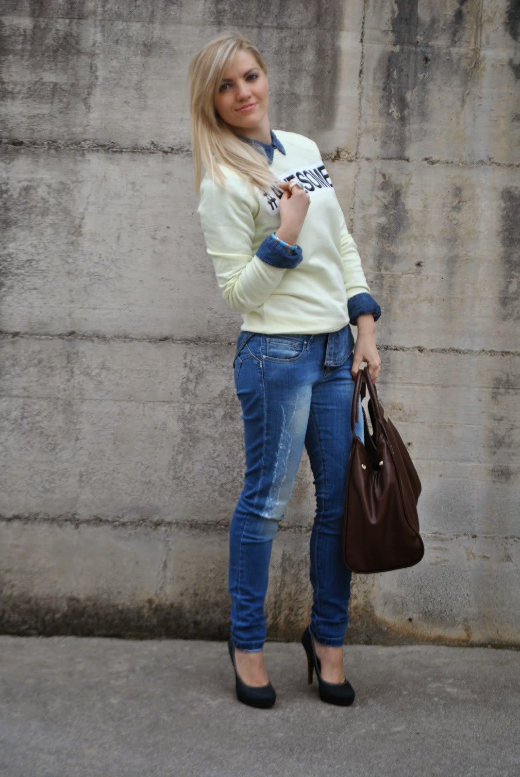 come abbinare il giallo outfit felpa gialla outfit jeans e camicia denim total look total look jeans camicia jeans felpa gialla awesome mariafelicia magno colorblock by felym mariafelicia magno fashion blogger outfit jeans skinny outfit camicia jeans come abbinare il giallo outfit giallo felpa gialla scarpe in denim borsa pelle marrone elisabetta franchi outfit aprile 2015 outfit casual primaverili outfit donna primaverili outfit jeans e tacchi come abbinare jeans e tacchi how to wear jeans and heels yellow outfit how to wear yellow blonde girls spring casual outfit spring outfit april outfit fashion blogger italiane fashion bloggers italy fashion blog italiani blogger italiane di moda ragazze bionde anello ysl majique pimkie milano look book street style