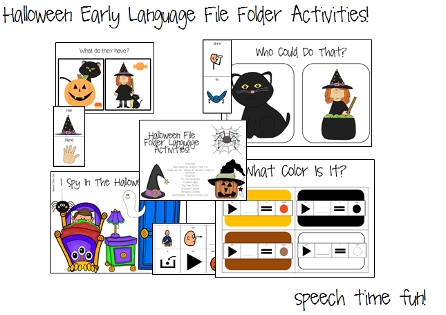 Halloween Early Language File Folder Activities!