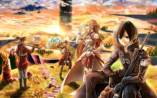 Sword art online anime sunset hd wallpaper image