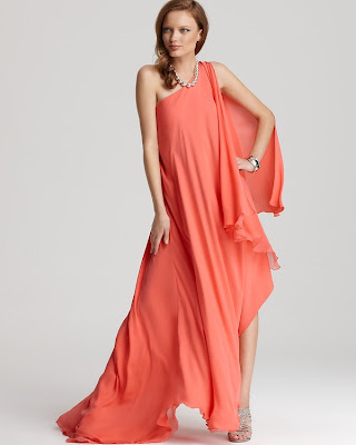 Halston coral gown