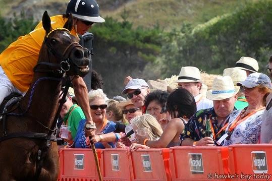 Dave Miller, Central FM, playing close to the crowd - Porangahau Beach Polo, Te Paerahi Beach, aka Porangahau Beach, Central Hawke's Bay. photograph