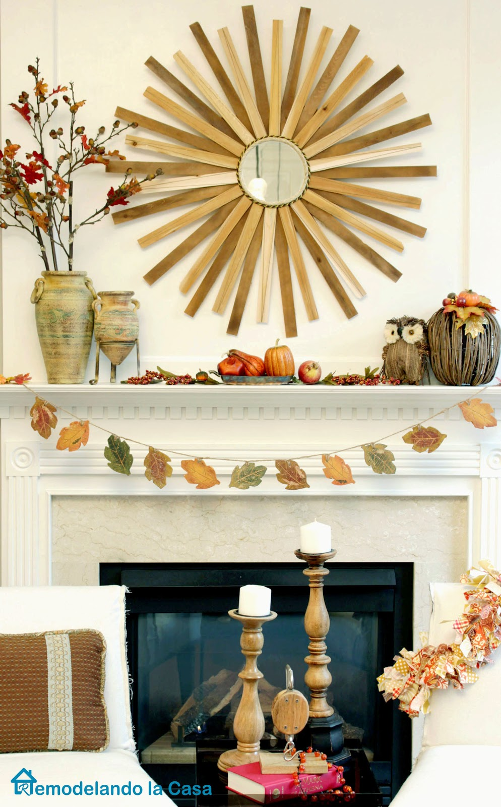 fall mantel with leaves garland, owl, pumpkin, branches and sunburst mirror
