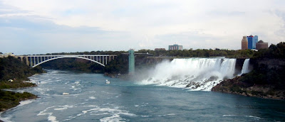 View of American Falls and Rainbow Bridge from Queen Victoria Park in Canada