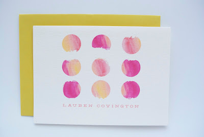 charm and fig water color polka dot stationery coral