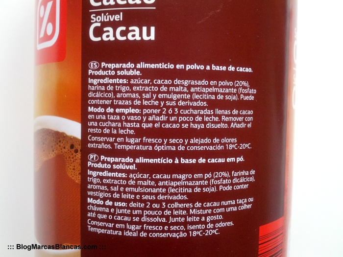 Ingredientes del cacao soluble Dia.
