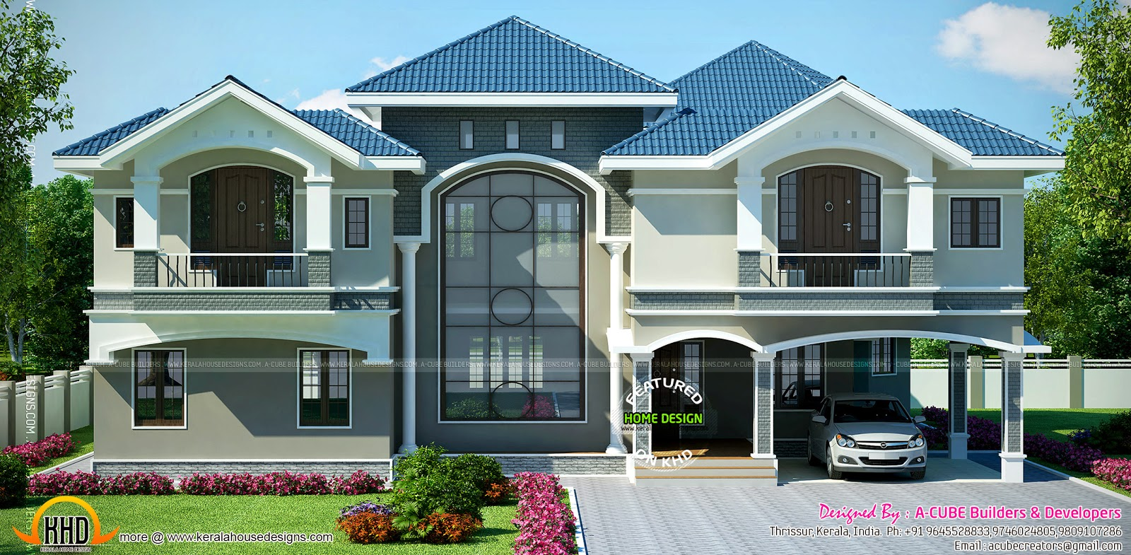 Super luxury house in beautiful style kerala home design for Luxury home designers