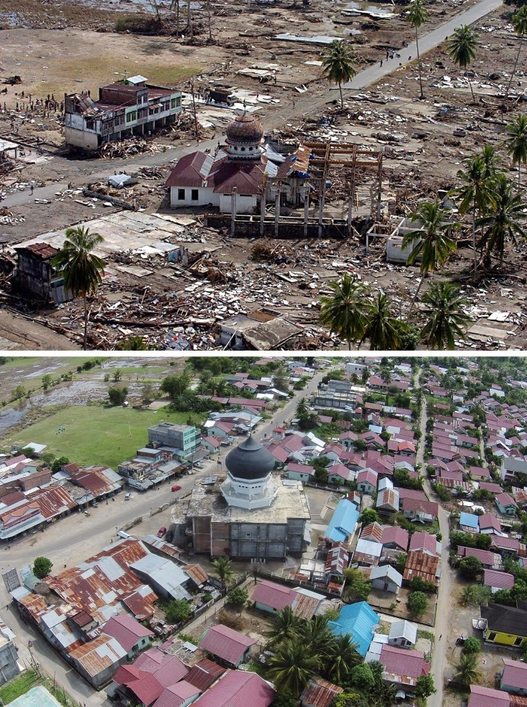 This combo shows a file photo, top, taken on Jan. 2, 2005 of a damaged mosque in Teunom, located in Aceh Jaya district, with many surrounding houses wiped out in the aftermath of the massive Dec. 26, 2004 tsunami triggered by an earthquake, and the same location photographed on Nov. 29, 2014, bottom, showing the renovated mosque surrounded by new houses and rebuilt community. Indonesia will mark Dec. 26, 2014 the 10th year anniversary of the deadly tsunami which killed more than 170,000 people in Aceh, and tens of thousands of others in other countries around the Indian Ocean. (AFP Photo/ Choo Youn Kong (top) and Chaideer Mahyuddin (bottom))