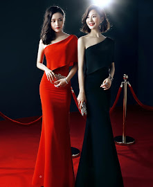 2017 Red Carpet Half Shoulder Black/Red Maxi