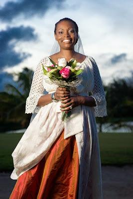 la mariée pose au Golf de Saint-François, Giuadeloupe