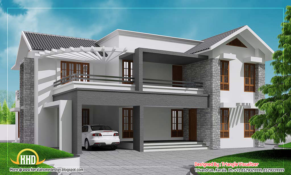 Contemporary sloping roof home design - 3010 Sq. Ft. | Enter your ...