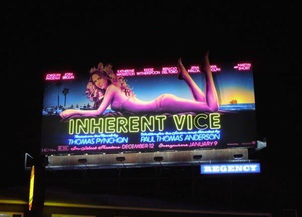 Inherent Vice moving leg neon sign billboard Sunset Strip