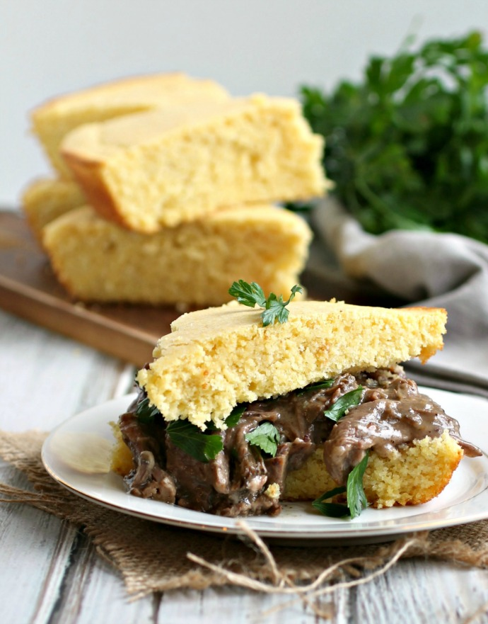 Buttemilk Cornbread and Pot Roast Sandwich