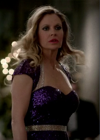 True Blood's Pam in Purple Dress
