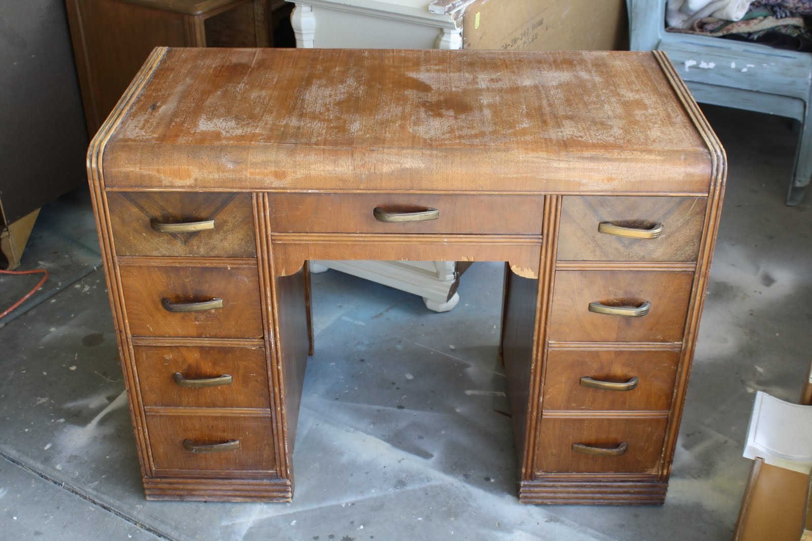 The Painted Parlor Yarmouth Blue Waterfall Desk