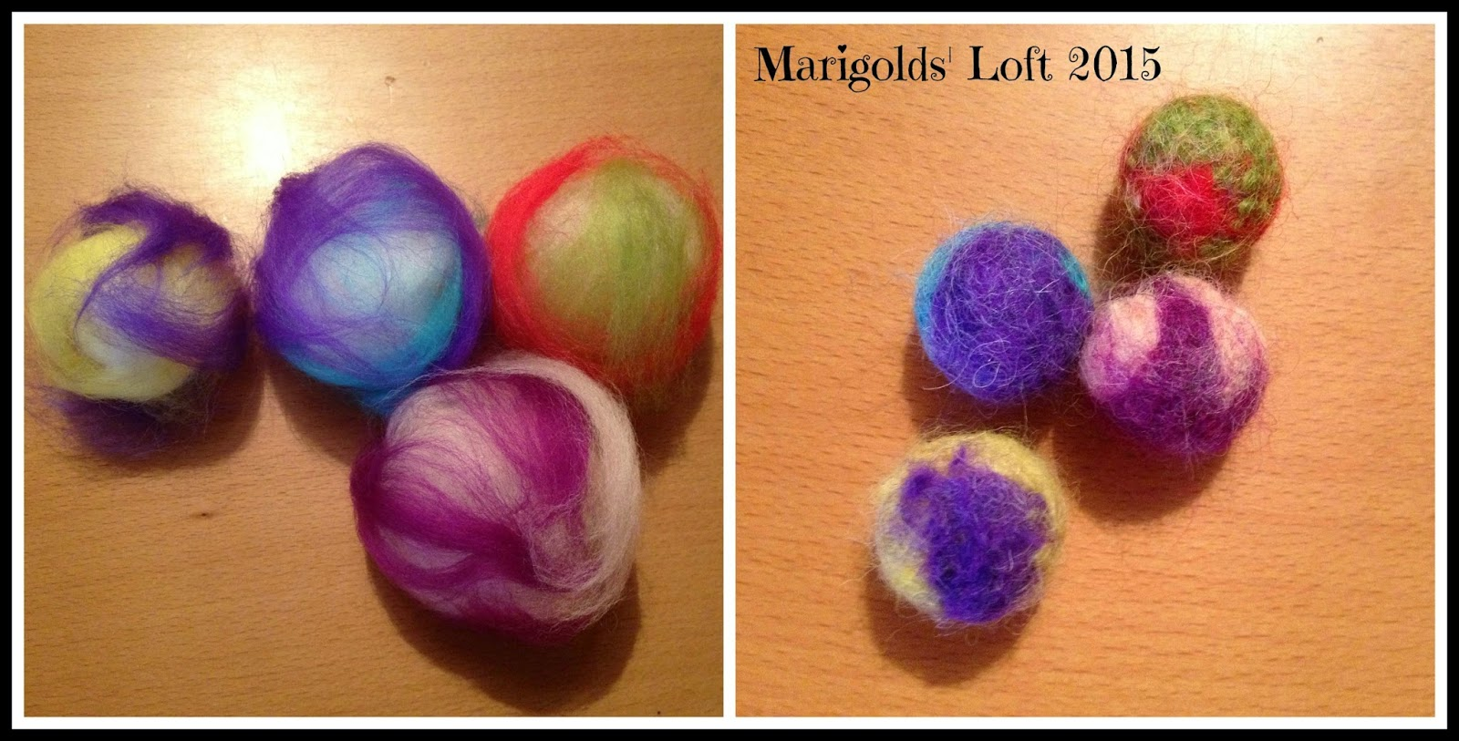 felted cat balls