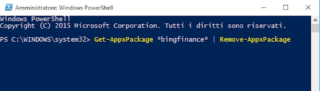 Comando PowerShell per disinstallare app integrate Windows 10
