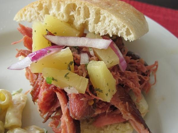 Hawaiian BBQ Pulled Pork Sandwich with Pineapple Relish | Yackels ...