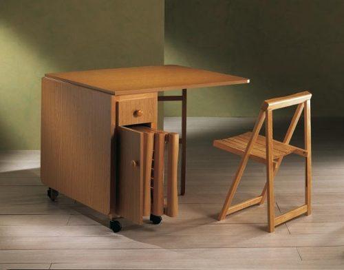 Blog de decora o arquitrecos mesa dobr vel em madeira for Mesa con sillas dentro