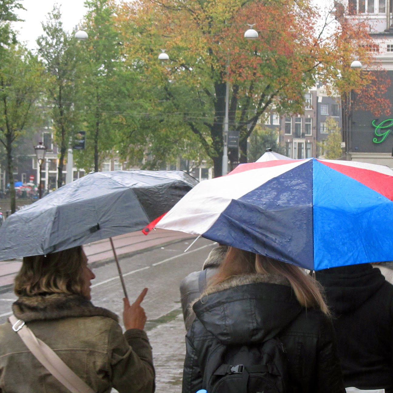 four-coloured umbrella