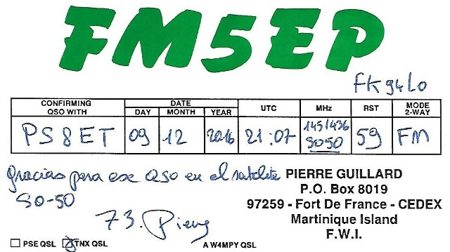 QSL - FM5EP - QSO Sat. SO50 - 09/12/2016 - Martinique Island